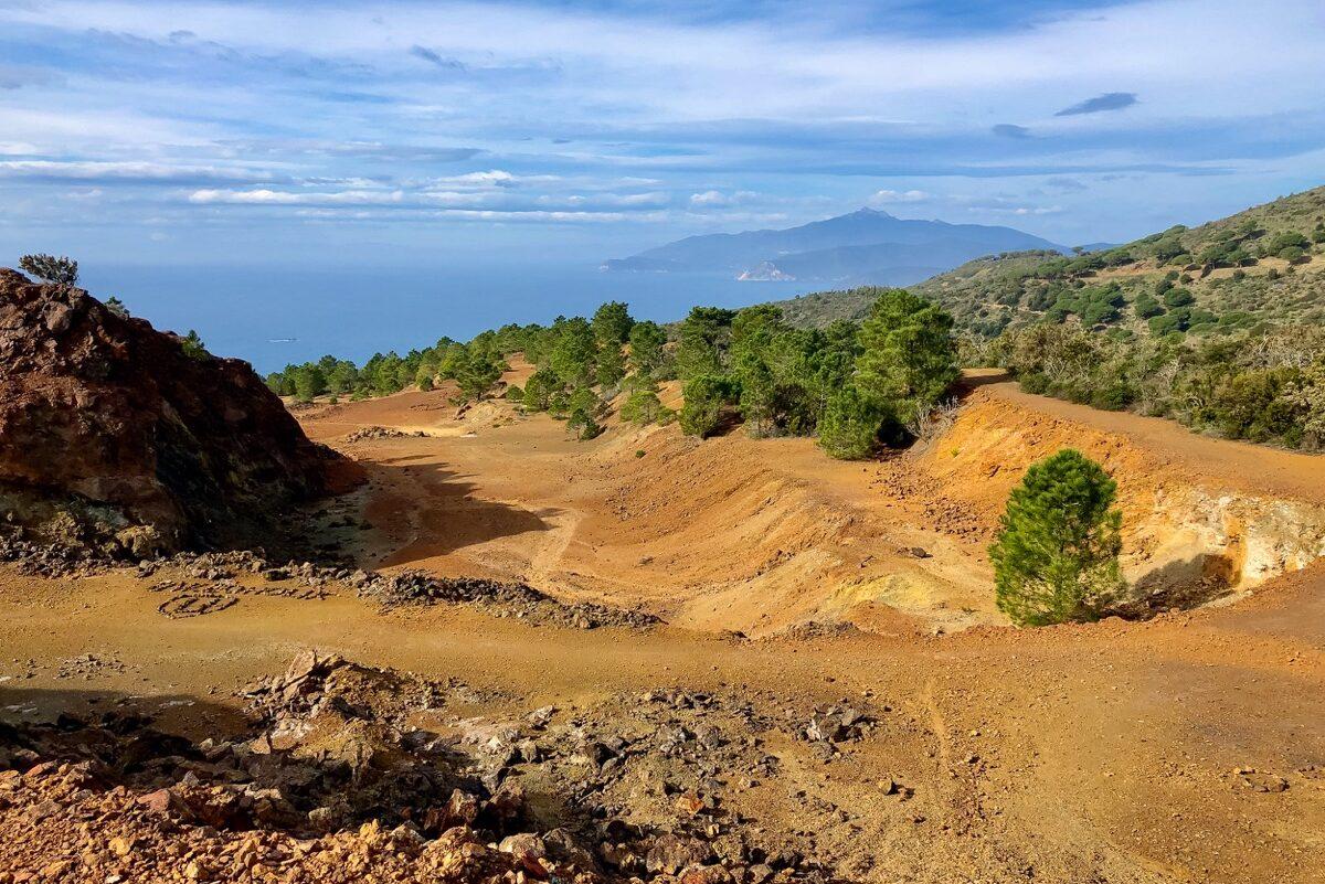 Vista dalla miniere di monte Calamita sull'isola d'Elba